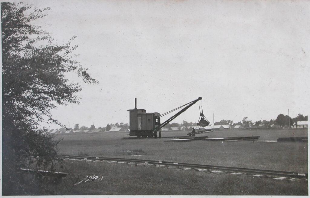 Voorbereiding voor de constructie van het industriële complex IG Farben. Collectie: Hans Citroen