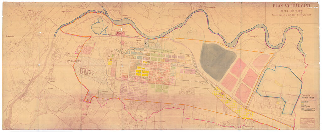 Situation map by the IG Farben TA Tiefbau. The forced labour camps around the factory. A Polish legend was added to the map after 1945.Collection: Archiwum Państwowe w Katowicach Oddział w Oświęcimiu - Hans Citroen
