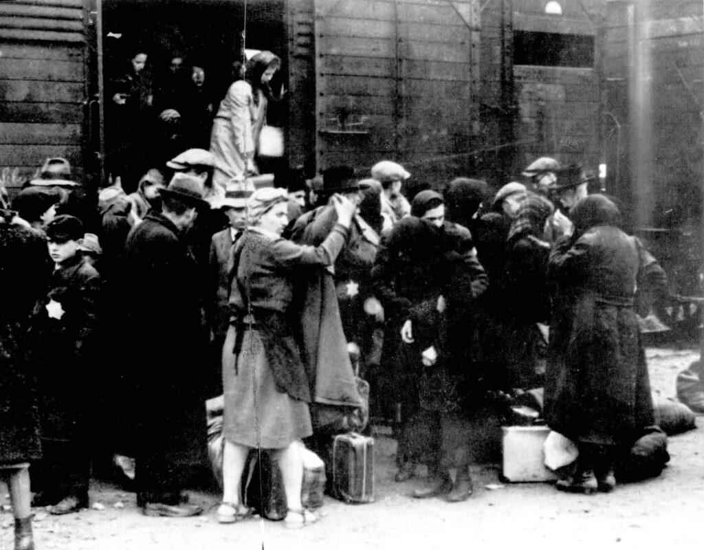 L'arrivée des Juifs hongrois à Birkenau - Source : Album de Lilly Jacob, Yad Vashem