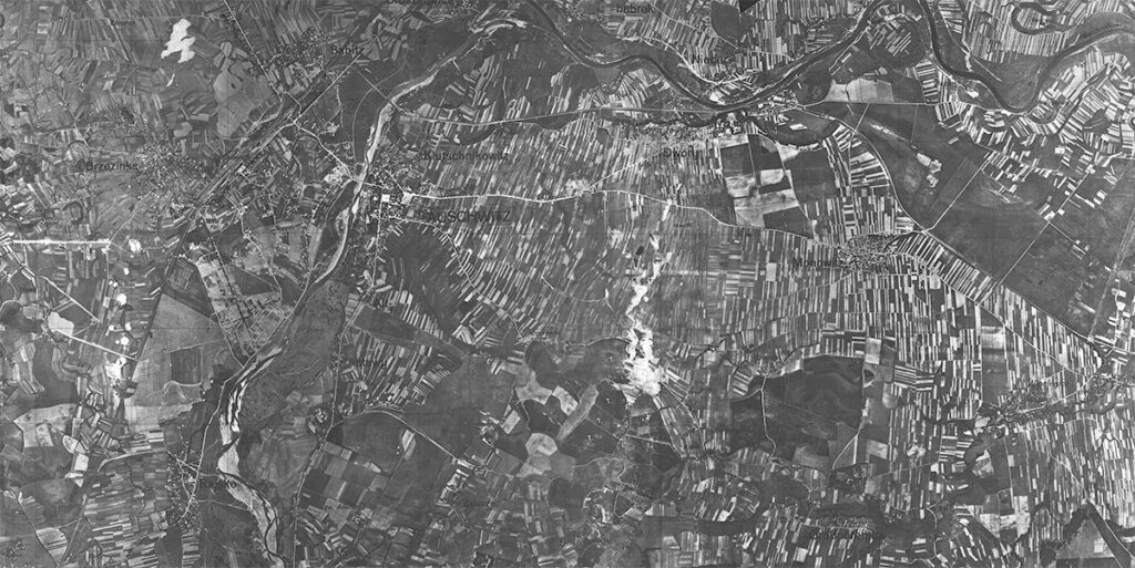 German aerial photograph of the area around the town of Auschwitz in 1940. Collection: Archiwum Państwowe w Katowicach Oddział w Oświcięmiu