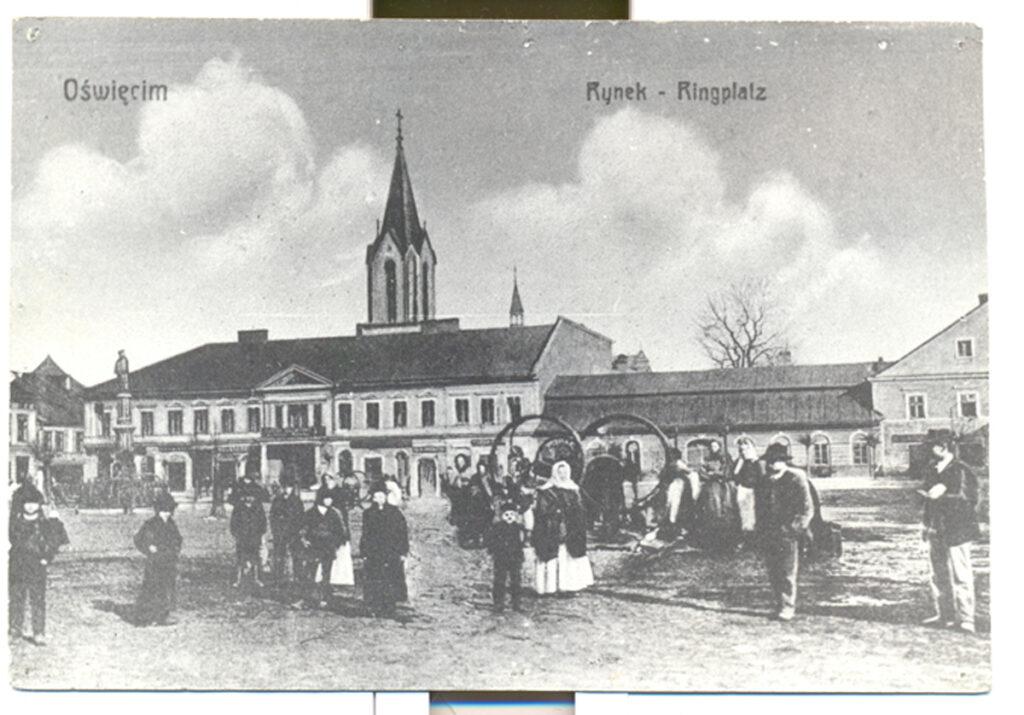 Carte postale de la place centrale de Oświęcim